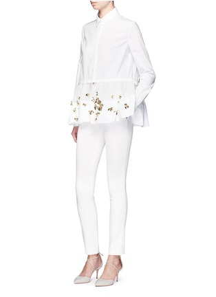 Figure View - Click To Enlarge - DELPOZO - Floral sequin mesh peplum hem shirt
