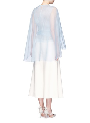 Back View - Click To Enlarge - DELPOZO - Cutout cape silk organza bow top