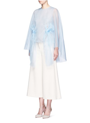 Front View - Click To Enlarge - DELPOZO - Cutout cape silk organza bow top