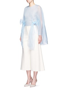 DELPOZO Cutout cape silk organza bow top