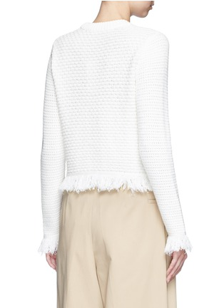 Back View - Click To Enlarge - Proenza Schouler - Fringed woven jacquard wool-cotton top