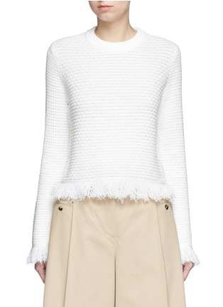 Main View - Click To Enlarge - Proenza Schouler - Fringed woven jacquard wool-cotton top