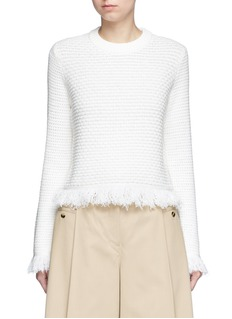 Proenza Schouler Fringed woven jacquard wool-cotton top