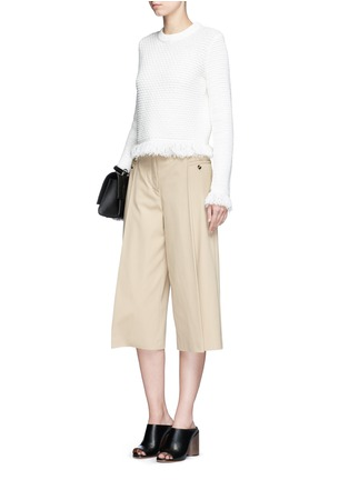Figure View - Click To Enlarge - Proenza Schouler - Fringed woven jacquard wool-cotton top