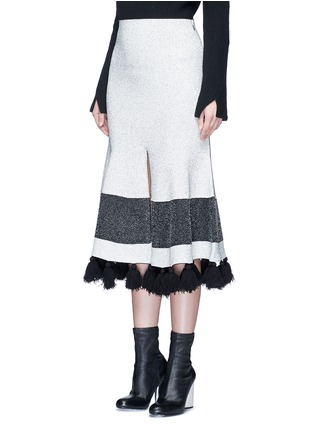 Front View - Click To Enlarge - Proenza Schouler - Fringe tassel knit flared skirt
