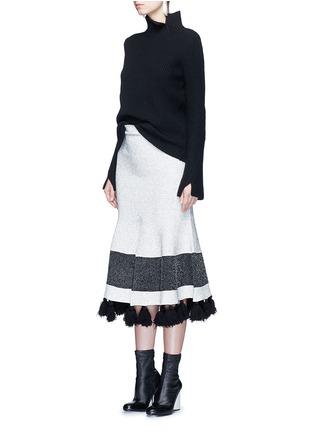 Proenza Schouler-Fringe tassel knit flare skirt