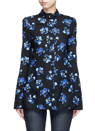 Main View - Click To Enlarge - Proenza Schouler - Floral print raw trim button georgette blouse