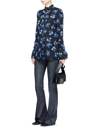 Figure View - Click To Enlarge - Proenza Schouler - Floral print raw trim button georgette blouse