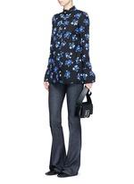 Floral print raw trim button georgette blouse