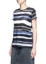 Stripe print tissue jersey cotton T-shirt