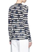 Floral stripe long sleeve cotton T-shirt