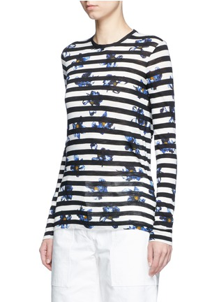 Front View - Click To Enlarge - Proenza Schouler - Floral stripe long sleeve cotton T-shirt