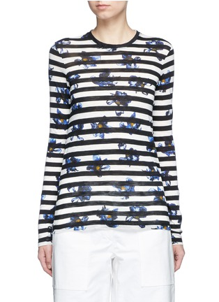 Main View - Click To Enlarge - Proenza Schouler - Floral stripe long sleeve cotton T-shirt