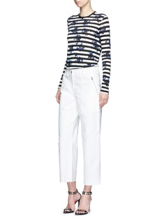 PROENZA SCHOULER Floral stripe long sleeve cotton T-shirt