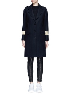 NEIL BARRETTMetallic stripe virgin wool oversize military coat