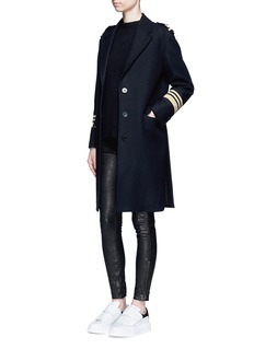 NEIL BARRETT Metallic stripe virgin wool oversize military coat