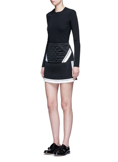 Neil BarrettContrast stripe tech mesh skirt