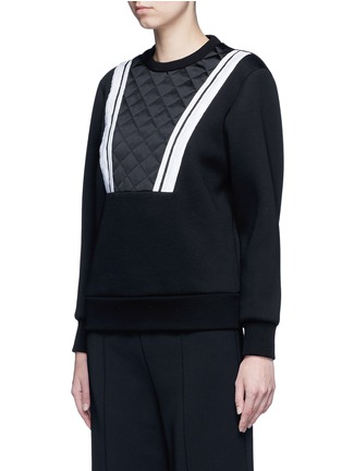 Front View - Click To Enlarge - Neil Barrett - Contrast stripe bonded jersey sweatshirt