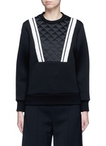 Contrast stripe bonded jersey sweatshirt