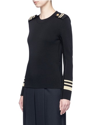 Front View - Click To Enlarge - Neil Barrett - Metallic stripe Milano knit sweater
