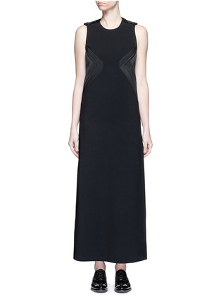 Neil Barrett - Satin stripe panel crepe maxi dress
