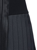 Satin stripe pleat crepe dress