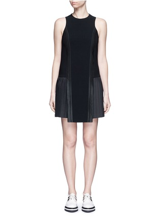 Main View - Click To Enlarge - Neil Barrett - Satin stripe pleat crepe dress