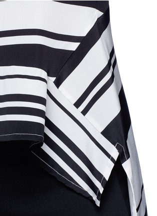 Detail View - Click To Enlarge - Neil Barrett - Flared hem stripe silk top