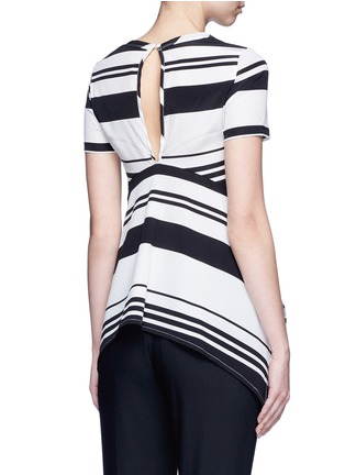 Back View - Click To Enlarge - Neil Barrett - Flared hem stripe silk top