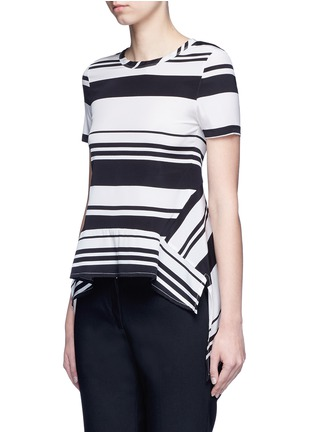Front View - Click To Enlarge - Neil Barrett - Flared hem stripe silk top
