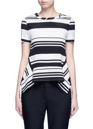Main View - Click To Enlarge - Neil Barrett - Flared hem stripe silk top