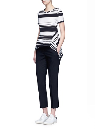 Figure View - Click To Enlarge - Neil Barrett - Flared hem stripe silk top