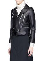 'Mock' lambskin leather motorcycle jacket