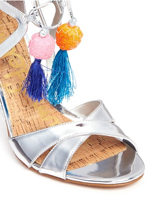 Detail View - Click To Enlarge - Sam Edelman - 'Azela' pompom tassel mirror sandals