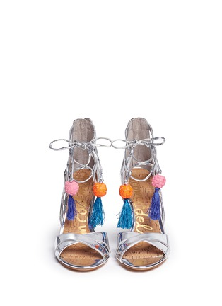 Front View - Click To Enlarge - Sam Edelman - 'Azela' pompom tassel mirror sandals