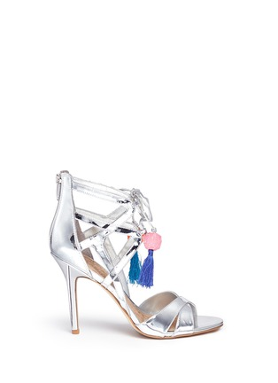Main View - Click To Enlarge - Sam Edelman - 'Azela' pompom tassel mirror sandals