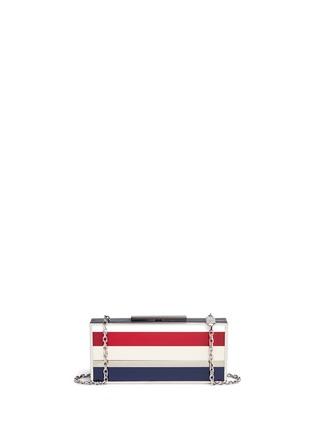 Back View - Click To Enlarge - Stuart Weitzman - 'Box' stripe Plexiglas clutch