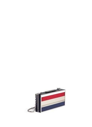 Front View - Click To Enlarge - Stuart Weitzman - 'Box' stripe Plexiglas clutch