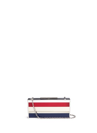 Main View - Click To Enlarge - Stuart Weitzman - 'Box' stripe Plexiglas clutch