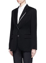 Split notched lapel wool suiting jacket