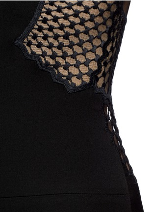 Detail View - Click To Enlarge - Stella McCartney - Embroidered mesh lace wool jumpsuit
