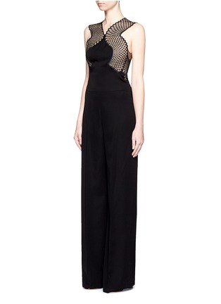 Front View - Click To Enlarge - Stella McCartney - Embroidered mesh lace wool jumpsuit