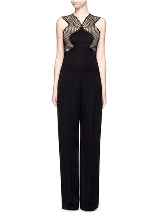 Main View - Click To Enlarge - Stella McCartney - Embroidered mesh lace wool jumpsuit