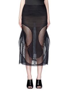 STELLA MCCARTNEYEmbroidered mesh lace midi skirt