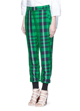 Front View - Click To Enlarge - Stella McCartney - 'Julia' gingham check elastic back jogging pants