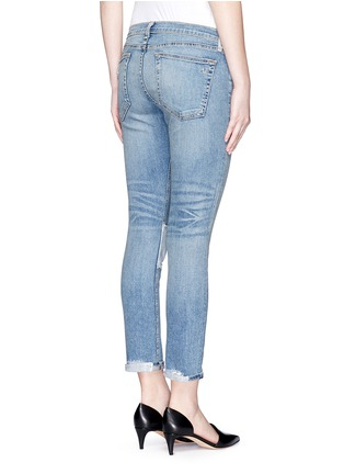 Back View - Click To Enlarge - rag & bone/JEAN - 'Tomboy' stripe patch distressed slim fit jeans