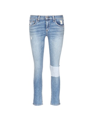 Main View - Click To Enlarge - rag & bone/JEAN - 'Tomboy' stripe patch distressed slim fit jeans