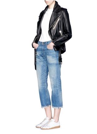 模特儿示范图 - 点击放大 - RAG & BONE/JEAN - 水洗磨破八分牛仔裤