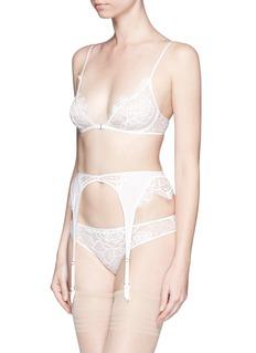 KIKI DE MONTPARNASSE'Coquette' lace silk chiffon garter belt