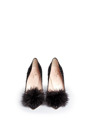 Front View - Click To Enlarge - Kate Spade - 'Lexi Too' pompom sequin pumps
